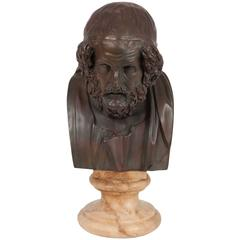 19th Century Bronze Bust of Homer