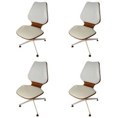 Set of Four Mid-Century Modern Teak Bentwood Swivel Chairs