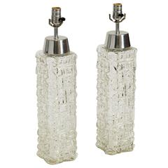 Pair of Scandinavian Clear Glass Table Lamps