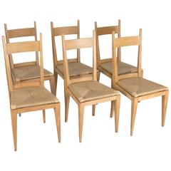 Seat of Six Oak Dining Chairs
