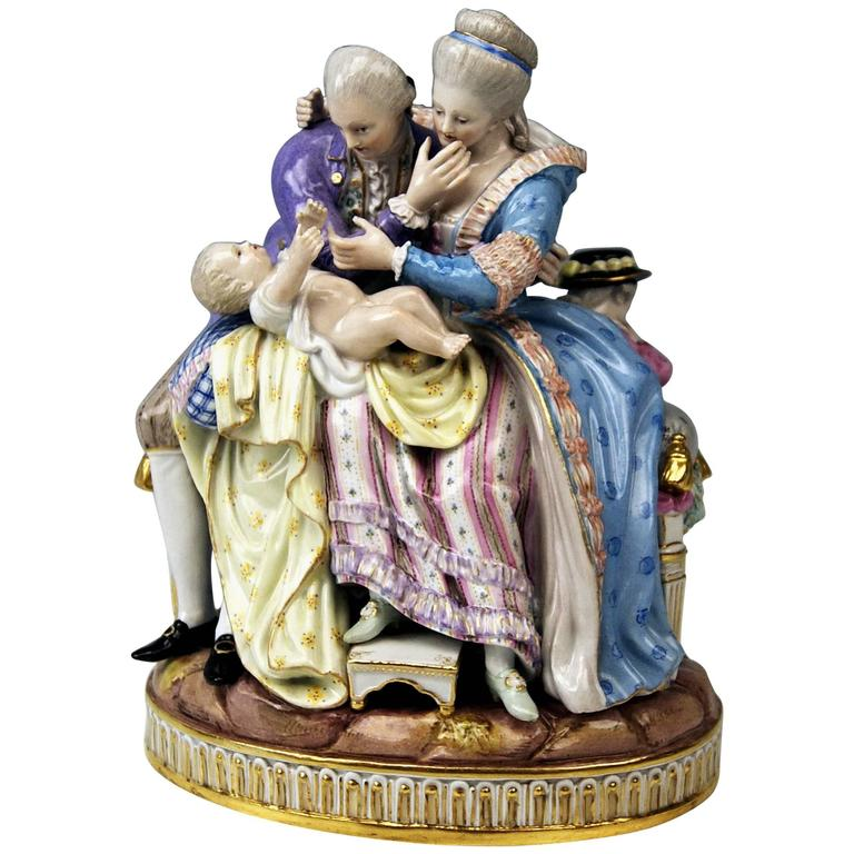 Meissen Stunning Figurines the Lucky Parents Model E81 by M. V. Acier, c.1860
