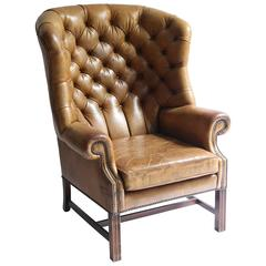Good Leather Wing Chair from the 1920s