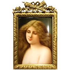 KPM Berlin Porcelain Plaque of Young Beauty, Signed Wagner, 19th Century