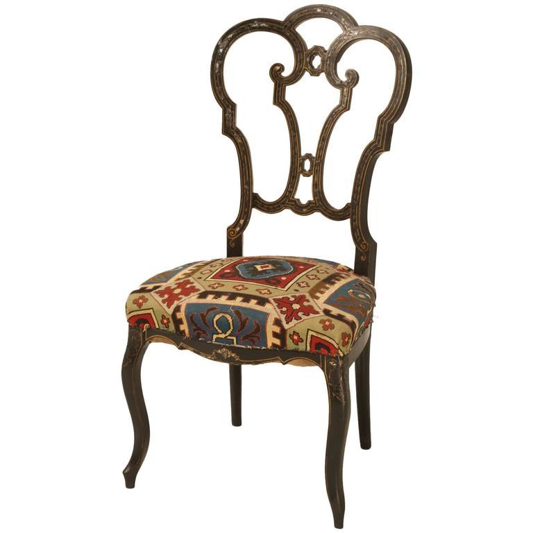 Napoleon III Black Lacquer Parlor Chair