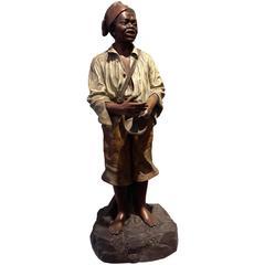 Johann Maresch Terracotta Figure an African American Boy, 19th century