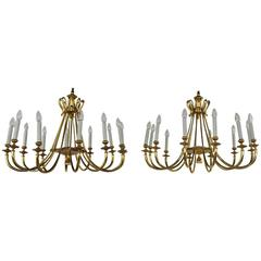 Pair of Italian Designed Chandeliers in Brass, Style of Gio Ponti, circa 1950