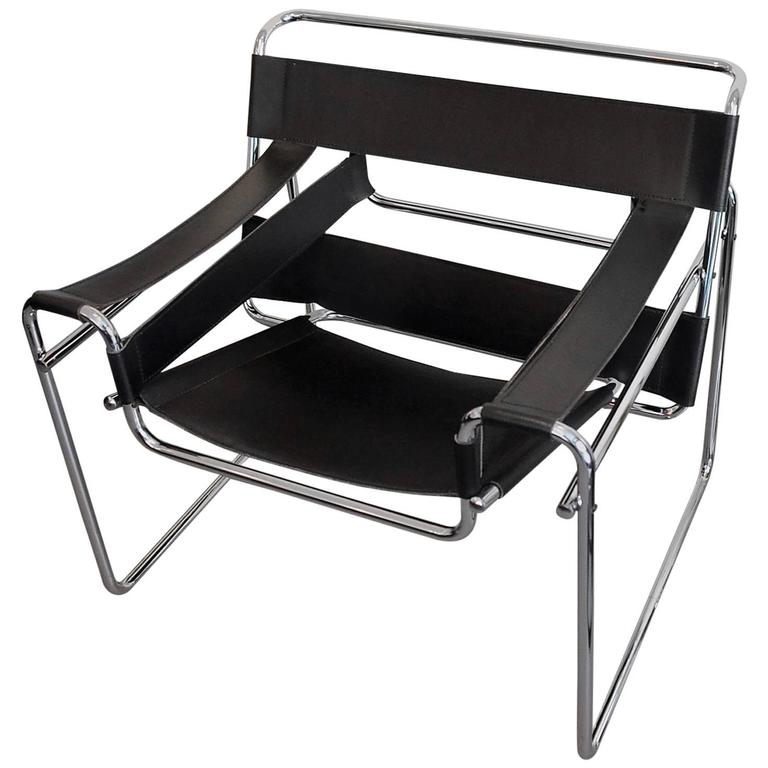 vintage marcel breuer wassily chair in black leather at 1stdibs. Black Bedroom Furniture Sets. Home Design Ideas