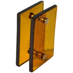 Mid-century Modern Amber Glass Push and Pull Door Handle