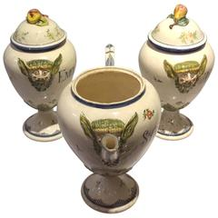 Unusual Group of 18th Century Italian Majolica Pharmacy Jars 'Botes de Farmacia'