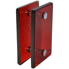 Push and Pull Door Handle in Red Glass