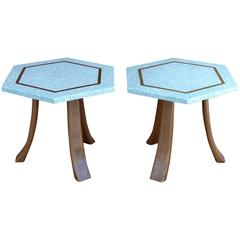 1960s Harvey Probber Terrazzo Top Side Tables with Inset Brass Trim, Pair