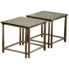 Pair of Chic Breccia Marble and Brushed Aluminum 1970s Side Tables