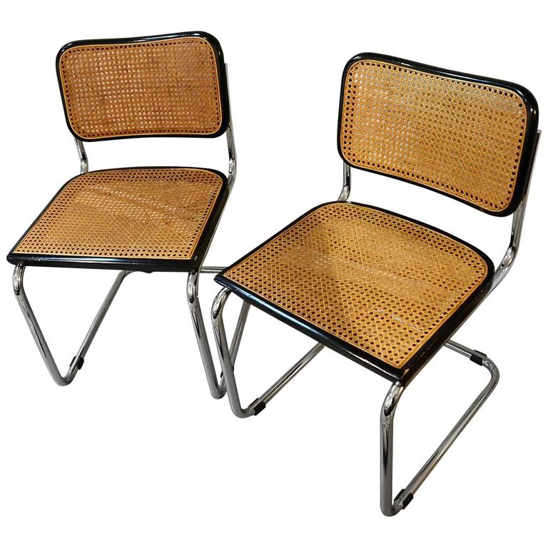 Elegant Vintage Set Of Original Marcel Breuer Cesca Chairs For Knoll, Circa 1970  For Sale