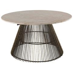 Paul Evans, Studio Gilt Steel and Stone Low Table, USA, circa 1960