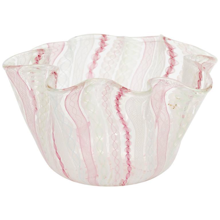 Handblown Murano Glass Handkerchief Vase by Venini