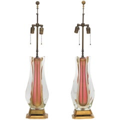 Large Pair of Vintage Italian Murano Sommerso Glass Lamps