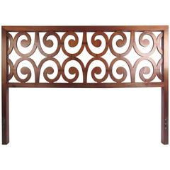 Vintage Queen-Size Bed, Sculpted Mid-Century Headboard