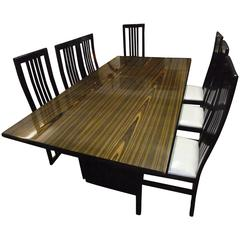 Retro Zebra Wood Dining Table and Matching Chairs