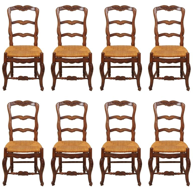 Set Of Eight Antique French Walnut Provincial Dining