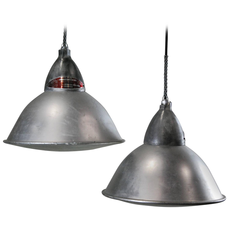 1940 industrial glass bottom pendant light at 1stdibs