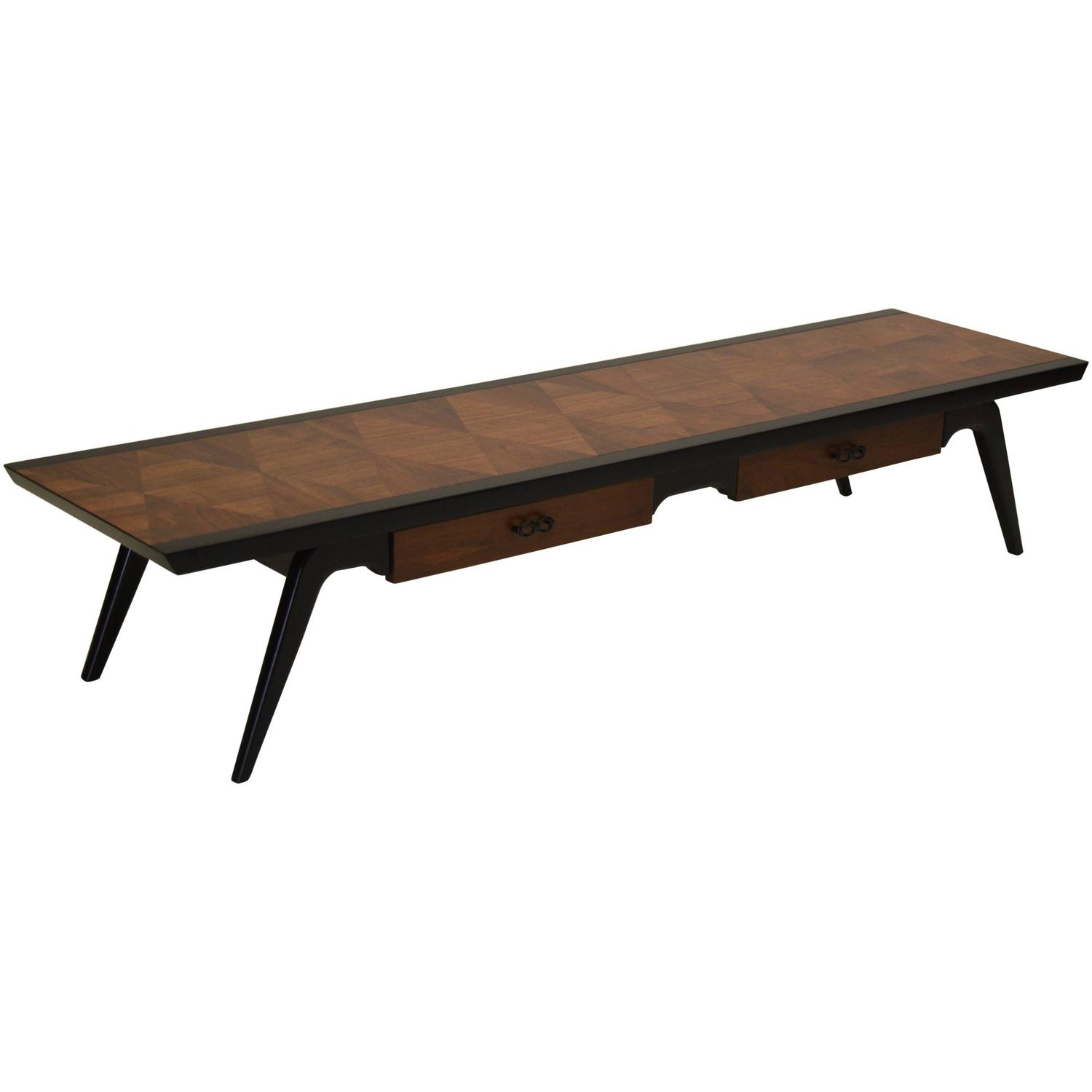 Black lacquer and walnut long sofa coffee table by lane for Long couches for sale