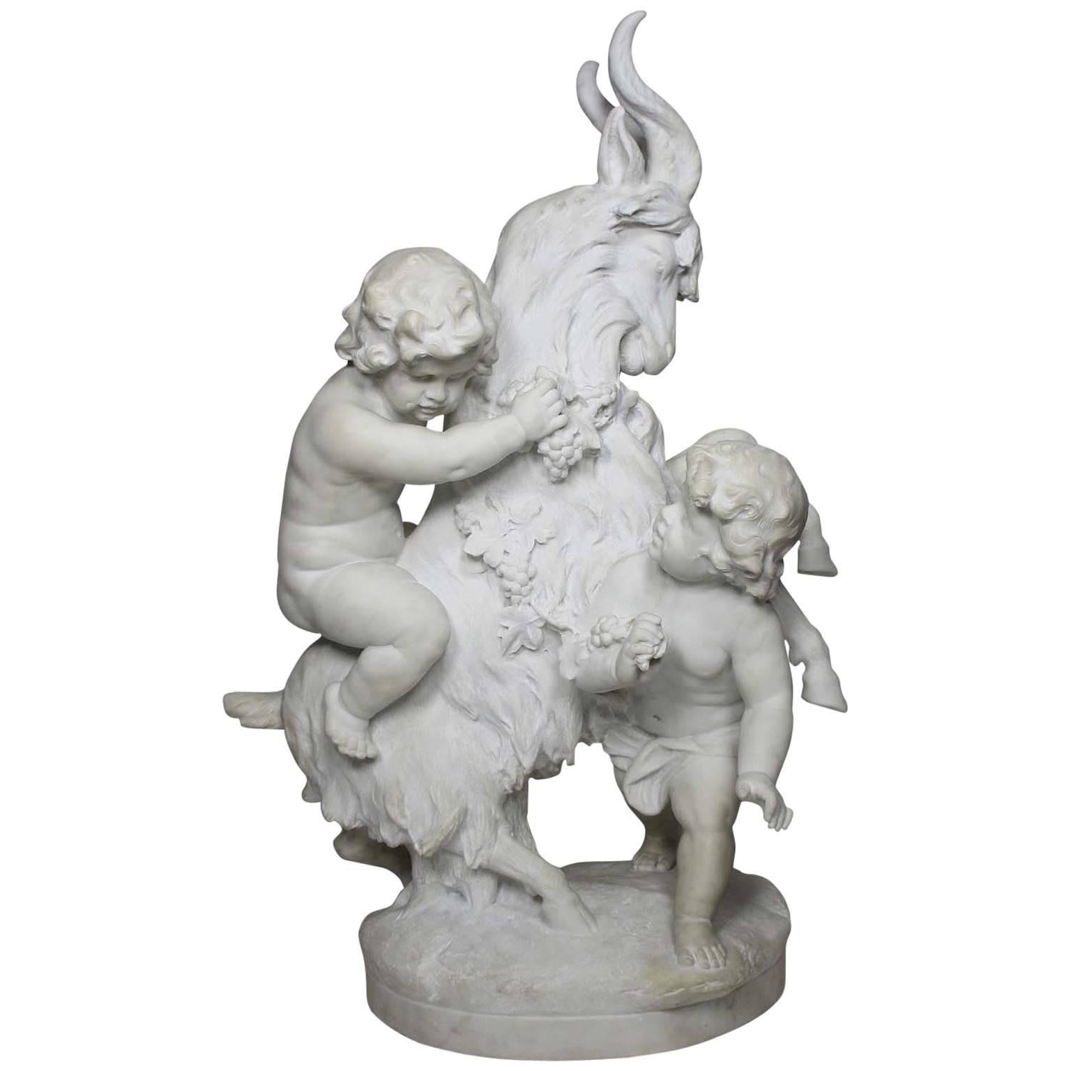 "Charming Italian 19th Century Carved Marble Group ""Playful Putti with Goat"""