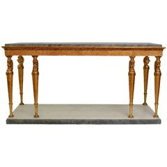 Very Large Swedish Empire Giltwood Eight-Leg Console Table with a Marble Top