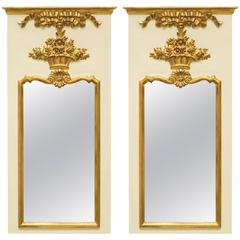 Pair of Italian Trumeau Mirrors by Carvers Guild