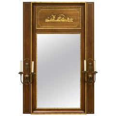 Italian Classical Trumeau Mirror with Sconces