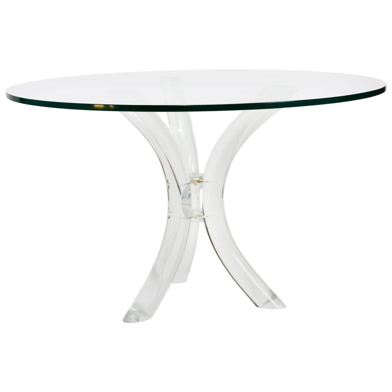 Sabre Bent Lucite Table with Glass Top