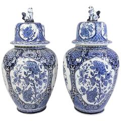 Pair of Delft Style Ginger Jars