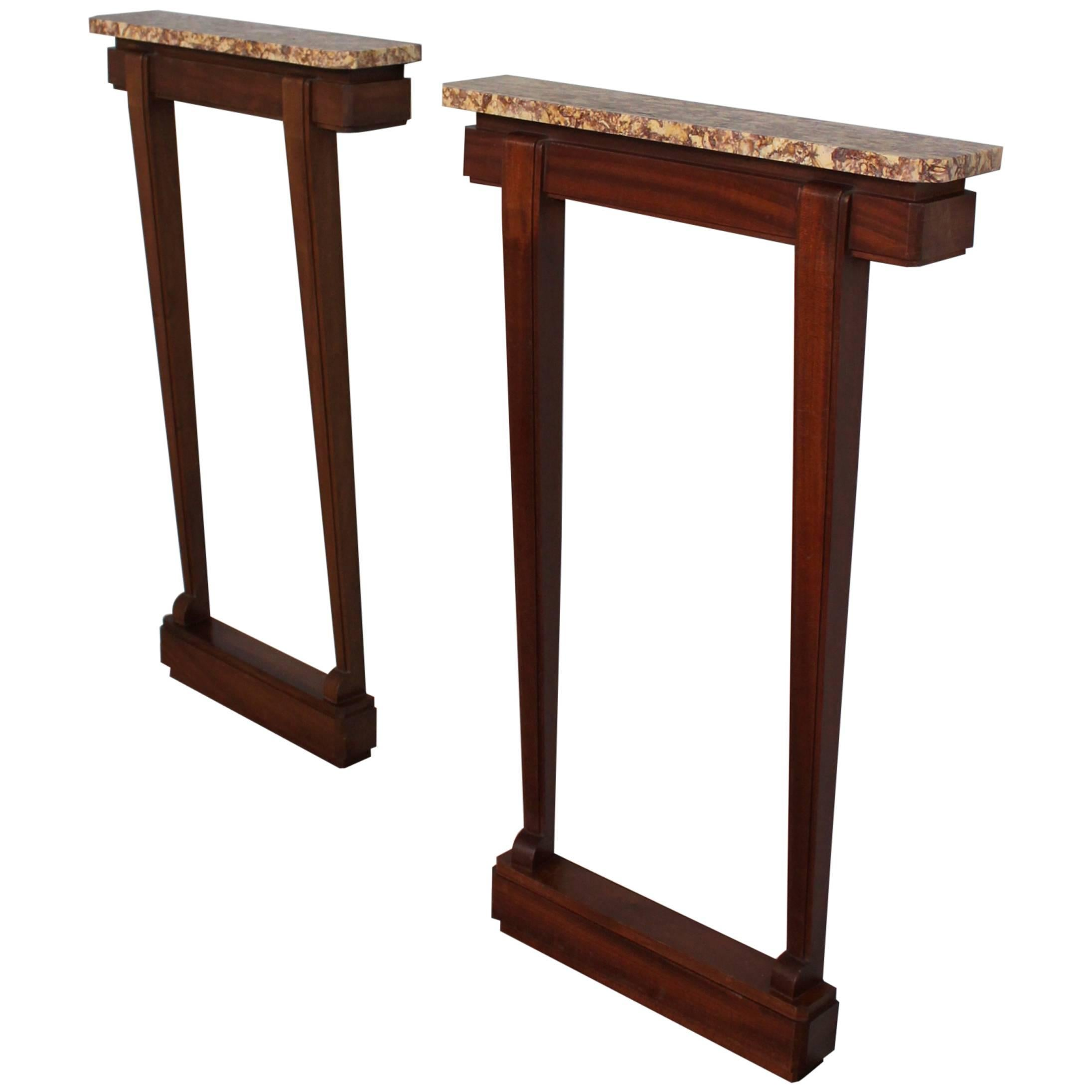 A Pair of Fine French Art Deco Mahogany and Marble Consoles