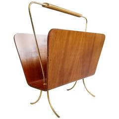 Magazine Rack in Ashwood and Brass, Italy
