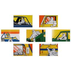 Seven French Pop Art Bibendum Michelin Screen Printed Plaques
