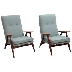 Fully Restored Pair of Pierre Guariche SK640 Lounge Chairs for Steiner
