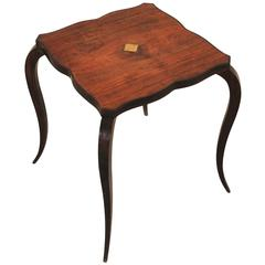 French Art Deco Side Table With Curved Legs