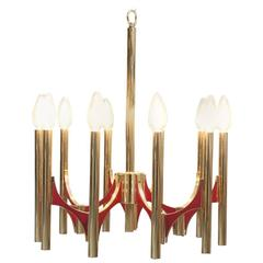 Gaetano Sciolari Twelve-Arm Brass Chandelier Brass