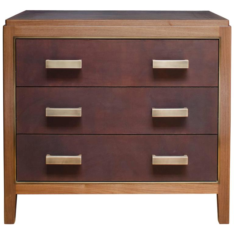 3-Drawer Abuelo Night Table in Walnut w/ Hand-Dyed Leather and Brass Detail For Sale