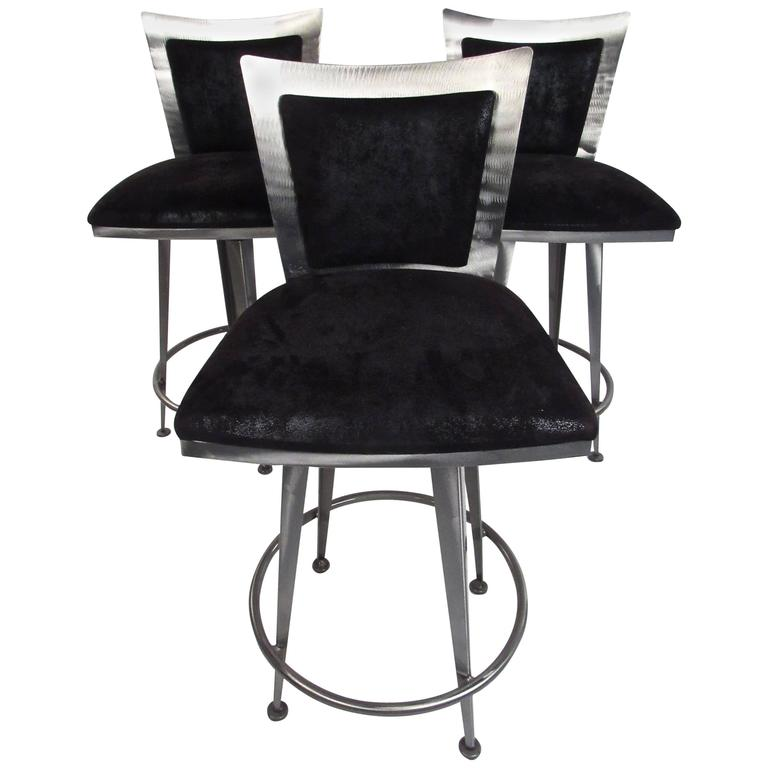 Set of Three Italian Modern Swivel Barstools