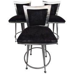 Set of Three Italian Modern Swivel Barstools