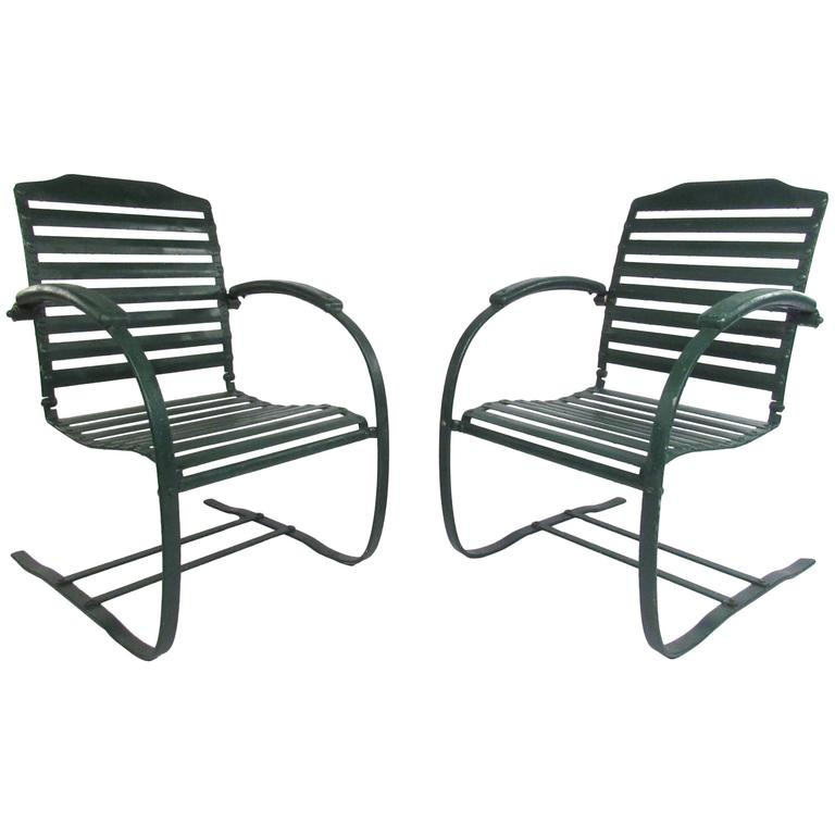 Pair Of Vintage Metal Spring Chairs, Mid Century Patio Furniture For Sale