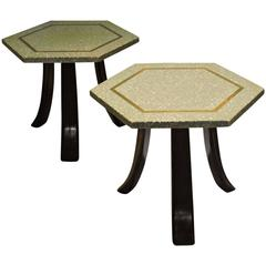 Terrazzo and Brass Hexagon Top Tables by Harvey Probber