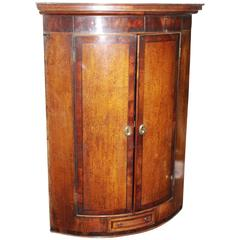 George IV Inlaid Bow Fronted Mahogany Corner Cabinet