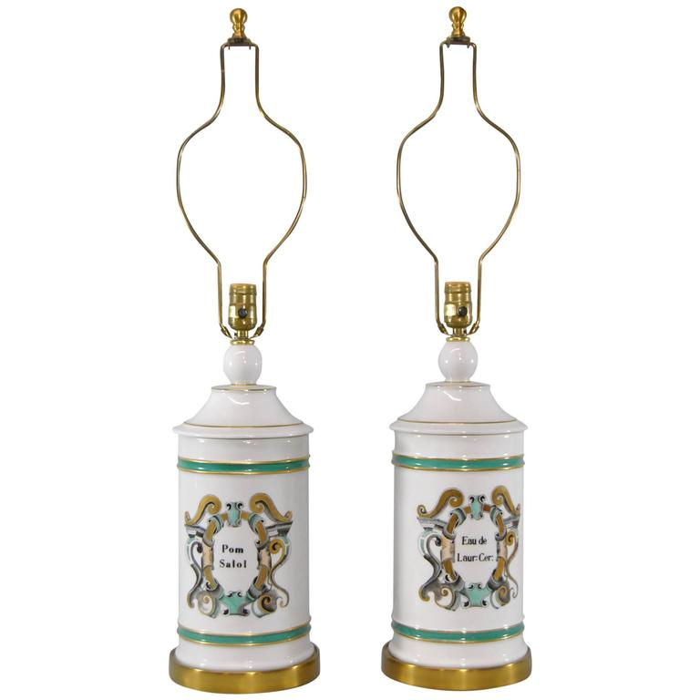 Pair of Apothecary Jar Lamps with French Motif by Paul Hanson
