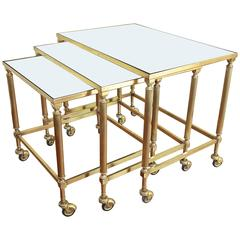 Trio of French Brass Mirrored Top Nesting Tables