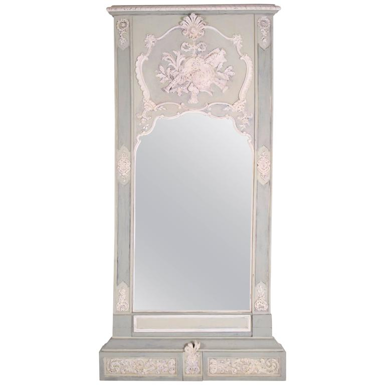 Tall 19th century french walnut louis xvi trumeau mirror for Tall mirrors for sale
