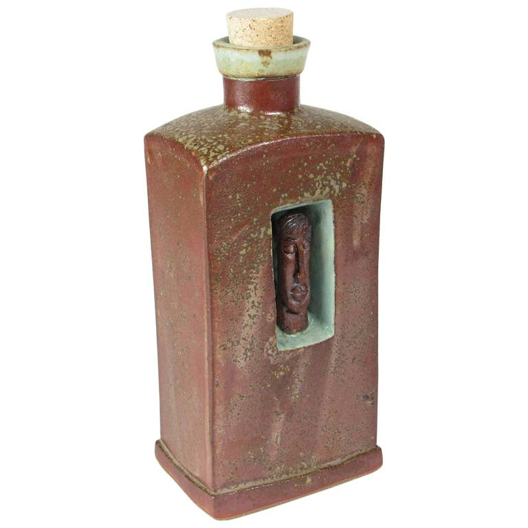 Unusual American Arts and Crafts Glazed Ceramic Flask For Sale
