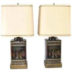 Pair of Black Asian Themed Tin Tea Canister Table Lamps by Frederick Cooper