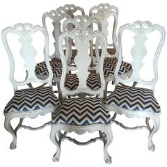 Eight Portuguese Baroque Style Carved Chairs