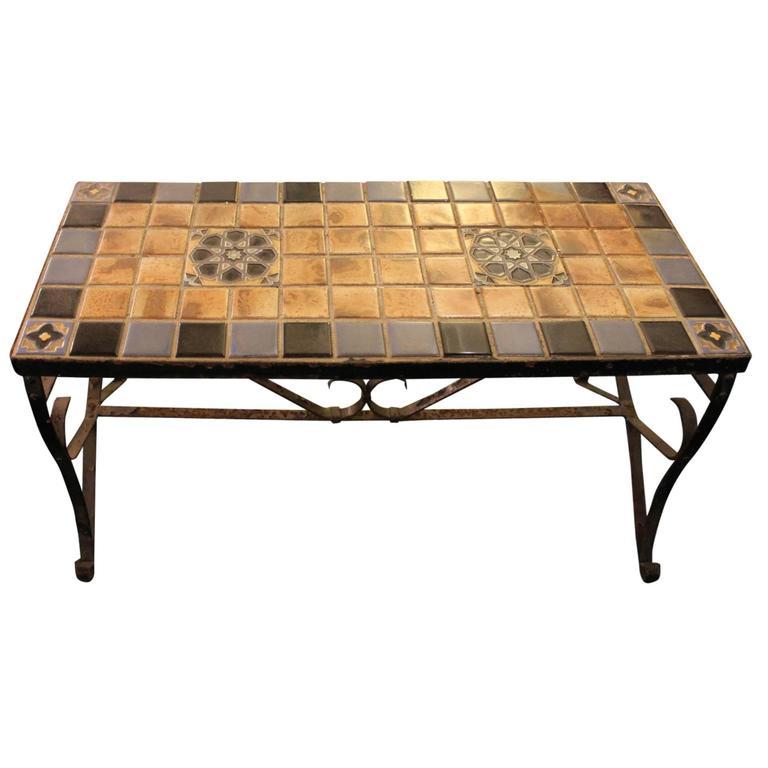 Mid Century Tile Top Coffee Table: Mid-Century California Style Tile Top Iron Coffee Table